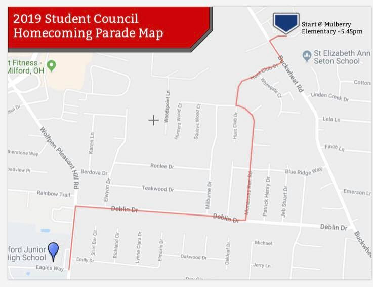hoco parade route map